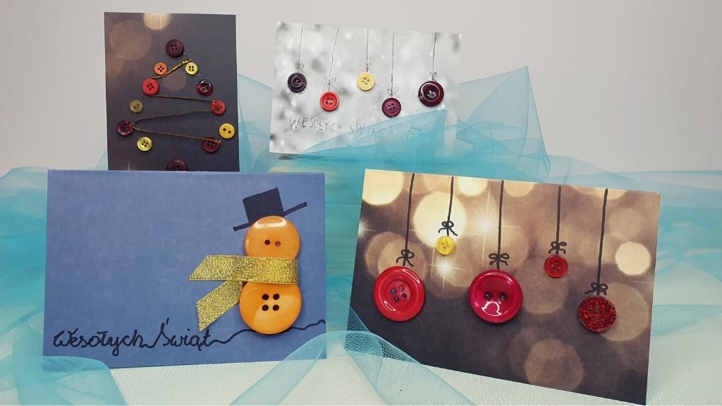 kartki świąteczne guziki
